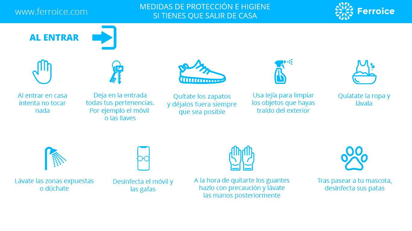 Medidas de protección e higiene cuando llegas a casa